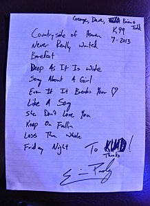 Eric Paslay's Set List Boot Grill 7/18/13