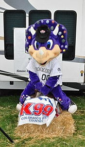 Rockies Mascot Dinger in the Saddle