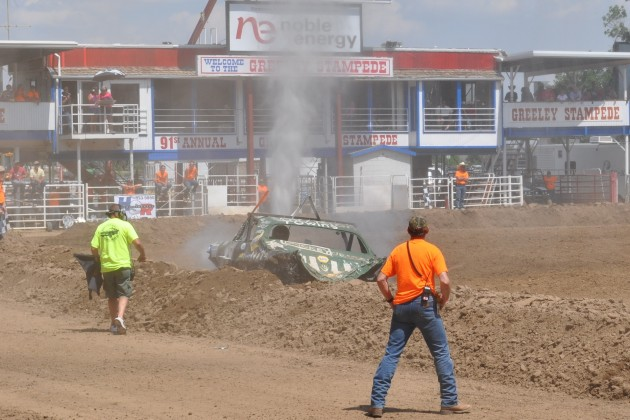 Smoking Car in Greeley Stampede Demolition Derby