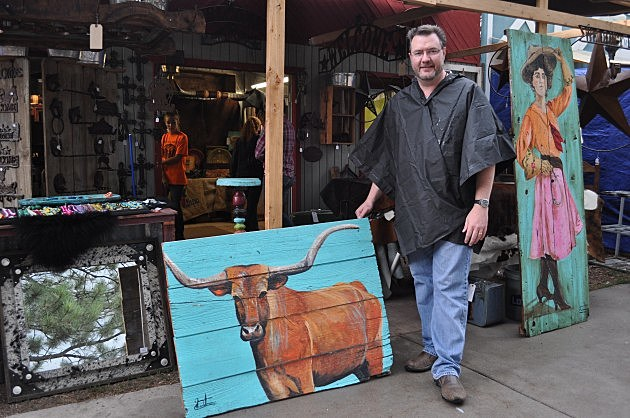Todd Harding with Longhorn Painting at CFD