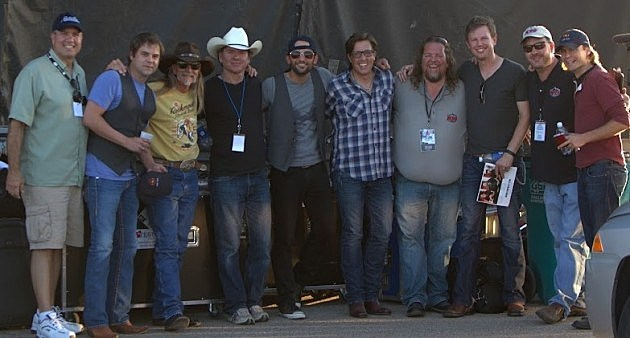 George King, Steve Holy, Dean Dillon, Tim Champlin, Due West, Brian Gary, Todd Harding, and Ryder Lee from the Lost Trailers at the Make It Rain Concert