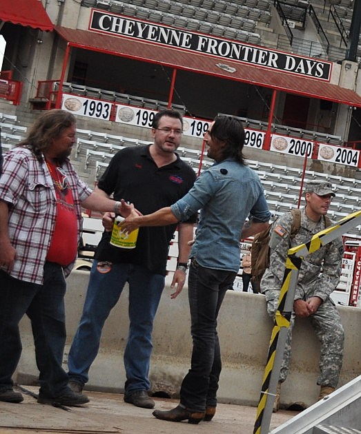 Brian & Todd talking with Jake Owen backstage at Cheyenne Frontier Days