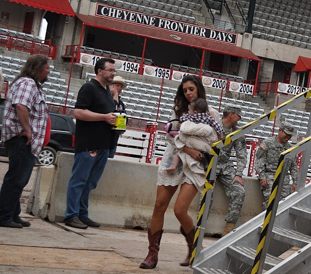 Brian and Todd backstage in Cheyenne as Jake Owen's  Wife and Baby Pass By