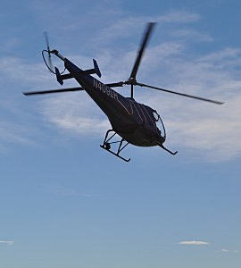 Helicopter takes off from Fritzlers Acres