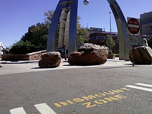 CSU Statue clearly showing dismount zone