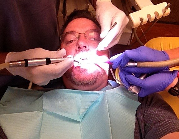 Todd Harding getting his cavities drilled at the Dentist