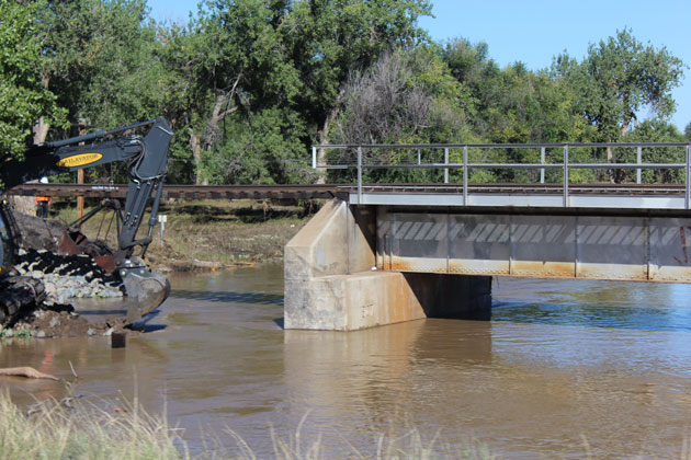 Railroad Bridge Washed Out by South Platte in Lasalle Colo