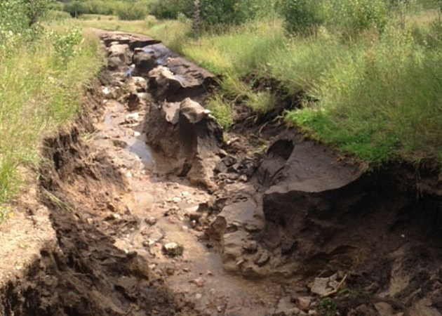 Flood washed out road at Hermit Park near Estes Park