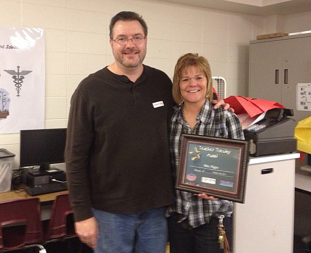 Todd Harding With Teacher Tuesday Award Winner Mrs. Nigro