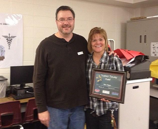 Todd Harding With Teacher Tuesday Award Winner Mrs. Nigro