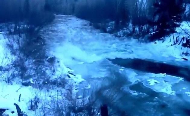 Ice Dam Breaks on San Miguel River in Southern Colorado