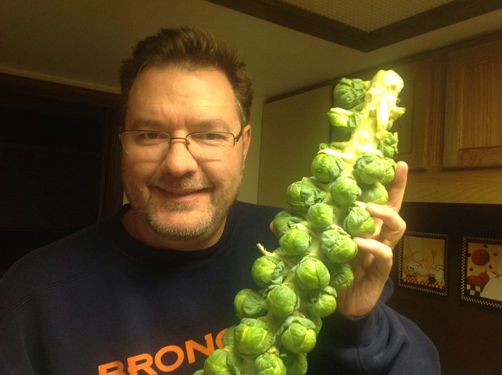 Man holding stalk of Brussel Sprouts