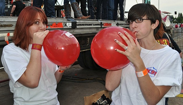 Blowing up balloons for Party Zone at Cheyenne Frontier Days
