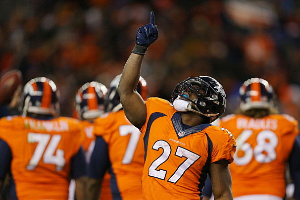 Knowshon Moreno #27 of the Denver Broncos celebrates his fourth quarter touchdown against the San Diego Chargers during the AFC Divisional Playoff Game