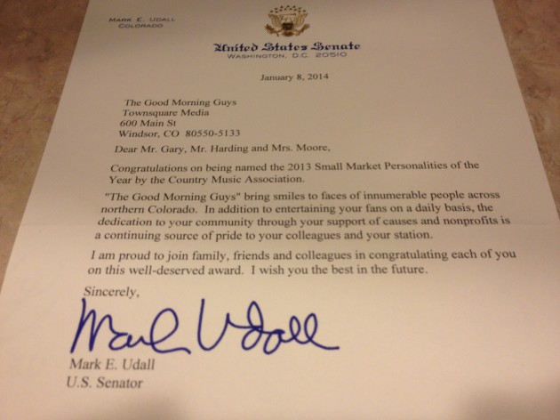 Letter to Brian & Todd From Senator Udall