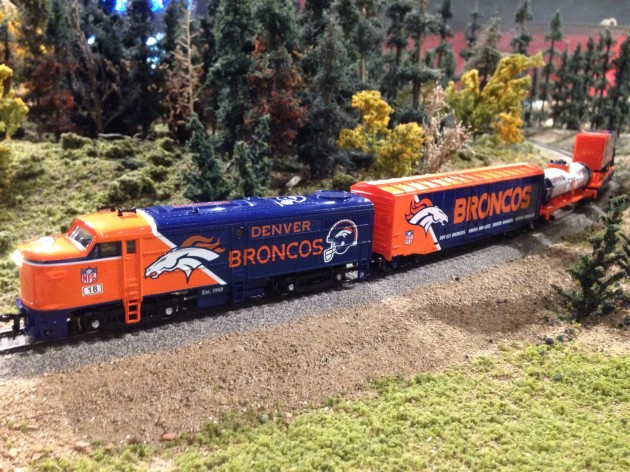 Denver Broncos train at the Colorado Model Railroad Museum at the Greeley Freight Station