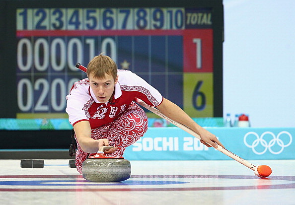 Evgeny Arkhipov of Russia - Curling - Winter Olympics Day 3