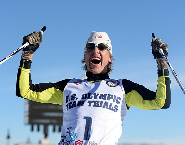 Todd Lodwick celebrates his frist place finish in the 10K to secure a place on the United States Olympic tea