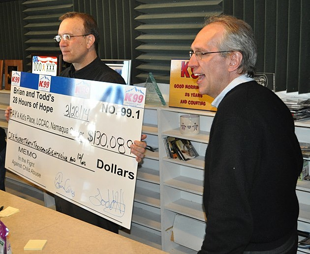K99 Operation Manager George King and General Manager Pat Kelley reveal final total to Brian & Todd