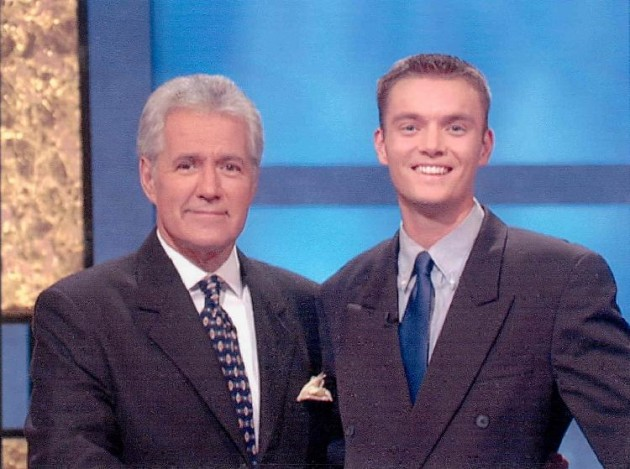 Russ  Schumacher with Jeopardy Host Alex Trebeck