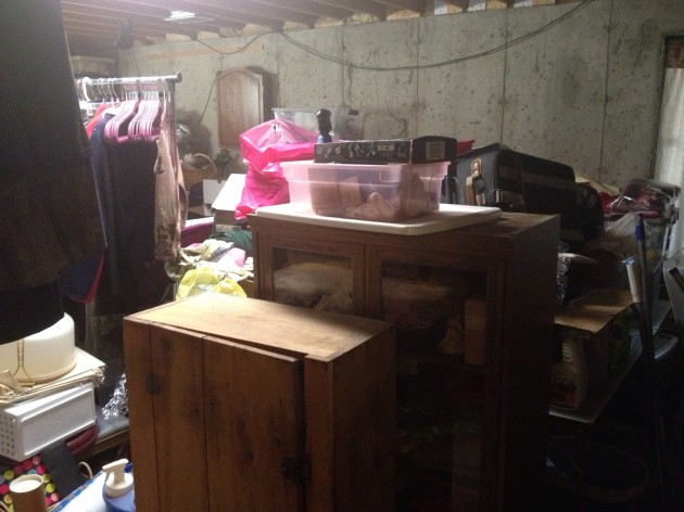 Junk in unfinished basement