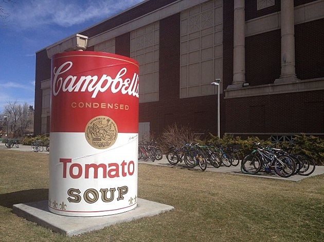 Andy Warhol sign Soup Can On CSU campus was recently vandalized
