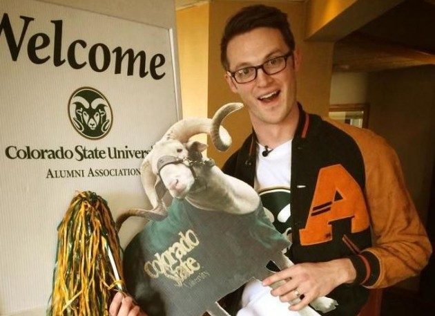 Ryan Avery at CSU with Cam the Ram Cut Out