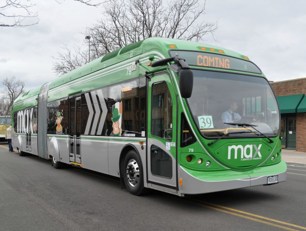 Max Rapid Transit Bus in Fort Collins St Patrick's Day Parade