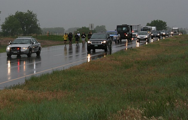 K99 Truck in the 2013 Law Enforcement Torch Run on a very rainy day