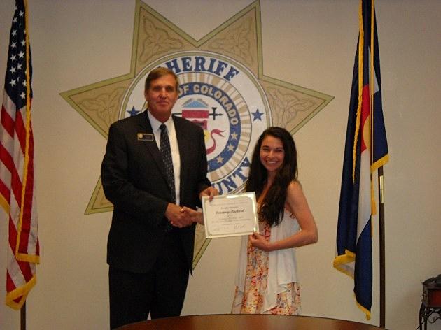 Weld County Sheriff John Cooke & Scholarship Winner Courtney Packard