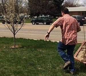 Man runs toward Easter egg