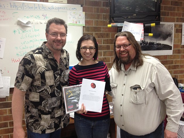 Brian and Todd with Ms. Steele, an Economics Teacher at Berthoud High School