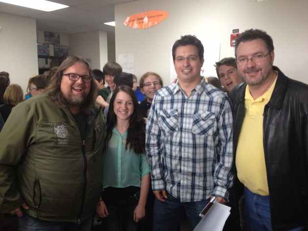Brian & Todd and Erika with Mr. West at Lucile Erwin Middle School in Loveland