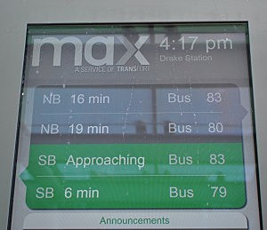 Electronic Fort Collins MAX Bus Rapid Transit Sign