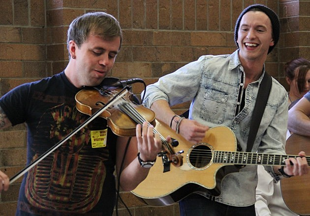 Dakota Bradley and his fiddle player at Windsor High School