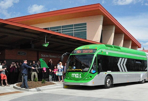 The 1st MAX Bus pulls out of the South Transit Center