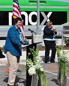 Fort Collins Mayor Karen Weitkunat addresses overflow crowd at MAX kickoff