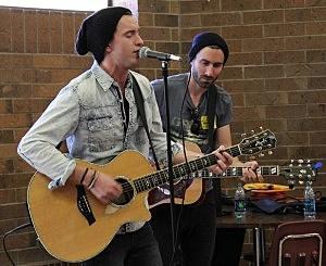 Dakota Bradley and his guitar player at Windsor High School