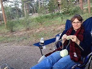 Todd's Wife Jenny Knitting While Camping