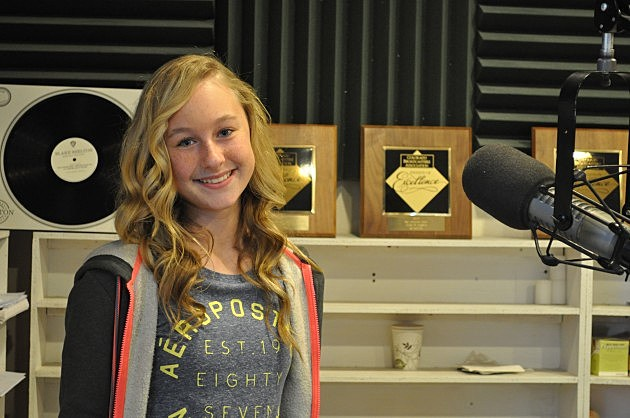 11-year-old singer/songwriter Kalani Hayden in the K99 Studio