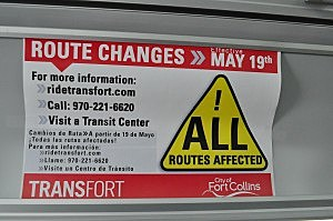 Transfort Route Changes Sign