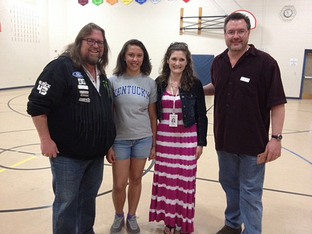 Brian and Todd with Eyestone Elementary student Madisen Harris and Teacher Tuesday Winner Stephanie Riches