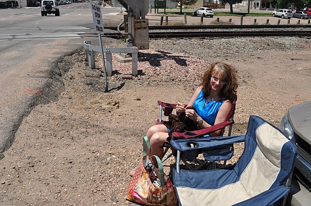 Todd's Wife Jenny Crocheting at RR Crossing in Ault, CO