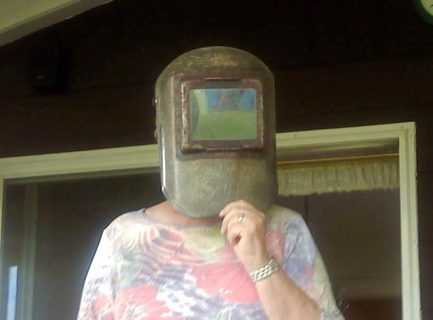 Mom in Welders Mask