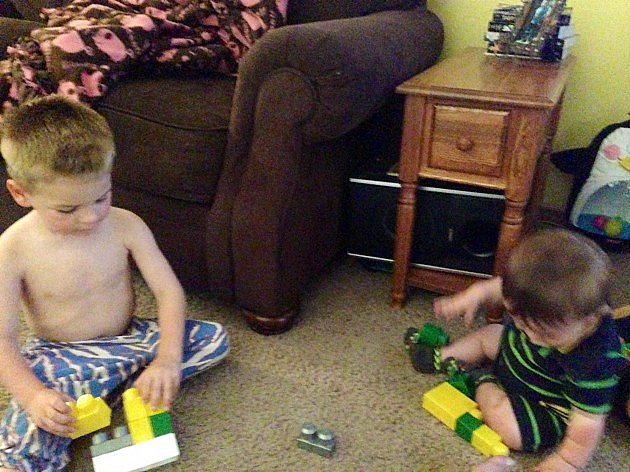 Zander and Zayden with Blocks