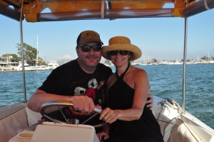 Todd and Wife Jenny Driving Duffy in Newport Beach Harbor