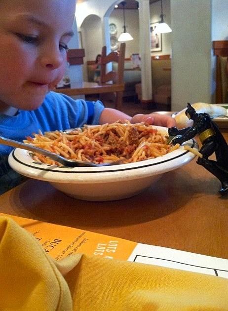 Batman and Zander at Olive Garden