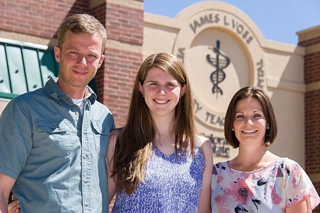 Military Health Professions Scholarship Program recipients Joshua Powell, Kelly Horgan and Hailey Harroun,