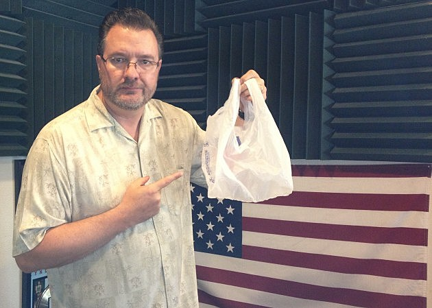 Todd Harding with plastic bag