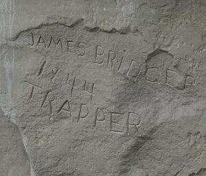 James Bridger signed his name in stone on Names Hill near Kemmerer, WY